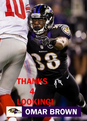 OMAR BROWN 2012 BALTIMORE RAVENS FOOTBALL CARD