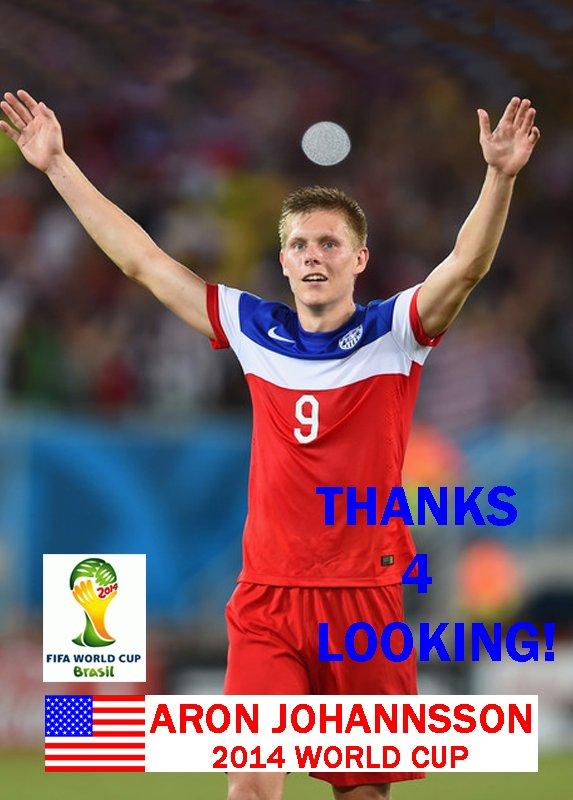 ARON JOHANNSSON USA 2014 FIFA WORLD CUP CARD