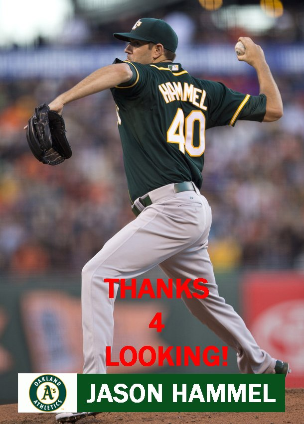 JASON HAMMEL 2014 OAKLAND ATHLETICS BASEBALL CARD