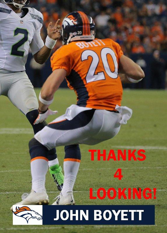 JOHN BOYETT 2014 DENVER BRONCOS FOOTBALL CARD
