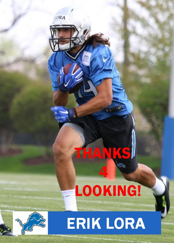 ERIK LORA 2015 DETROIT LIONS FOOTBALL CARD