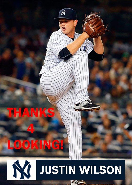 JUSTIN WILSON 2015 NEW YORK YANKEES BASEBALL CARD
