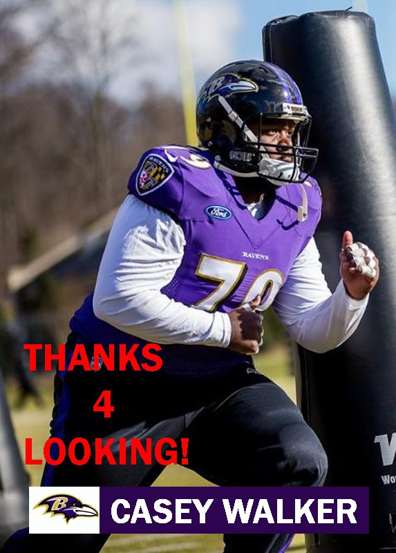 CASEY WALKER 2015 BALTIMORE RAVENS FOOTBALL CARD