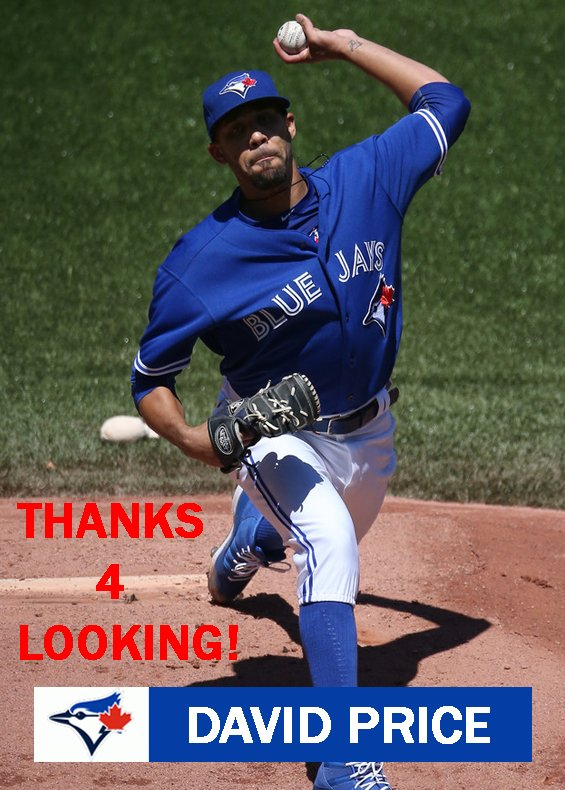DAVID PRICE 2015 TORONTO BLUE JAYS BASEBALL CARD