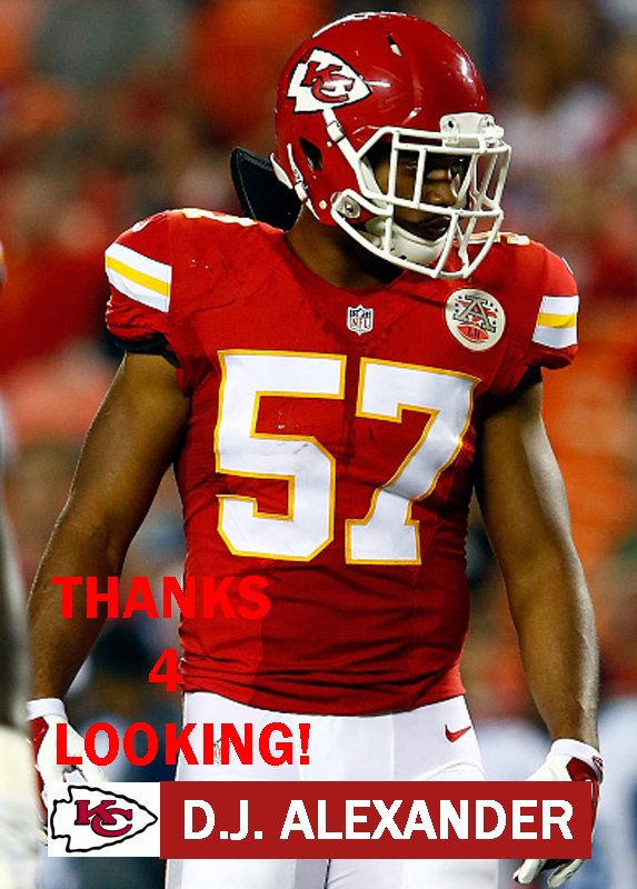 D.J. ALEXANDER 2015 KANSAS CITY CHIEFS FOOTBALL CARD