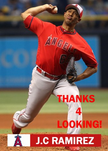J.C RAMIREZ 2016 LOS ANGELES ANGELS  BASEBALL CARD