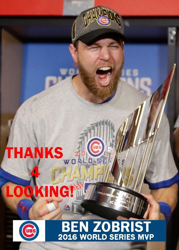 Ben Zobrist 2016 Chicago Cubs World Series Mvp Baseball Card