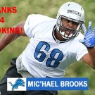 MIC'HAEL BROOKS 2013 DETROIT LIONS FOOTBALL CARD