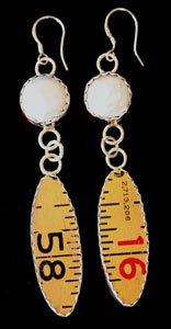 Style RU5 Fresh Water Pear and Ruler Earrings