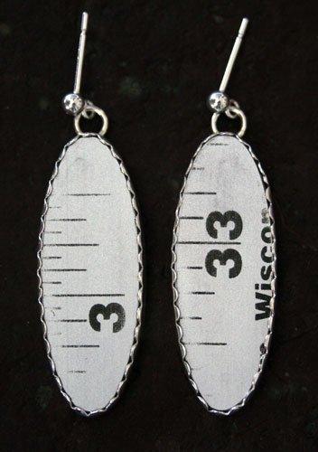 Style RU2M, Carpenters Aluminum Ruler Earrings