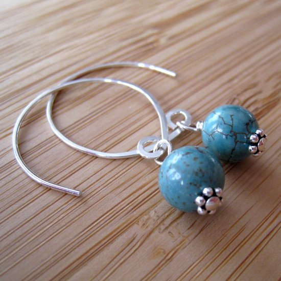 Sterling Silver Turquoise Earrings - Blue River