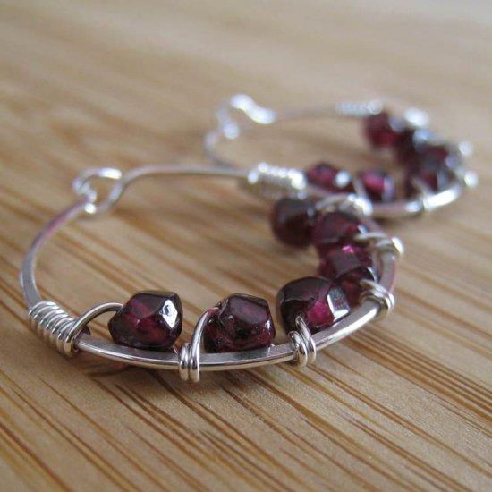 Garnet Hoop Earrings Sterling Silver