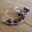 Garnet Hoop Earrings Sterling Silver
