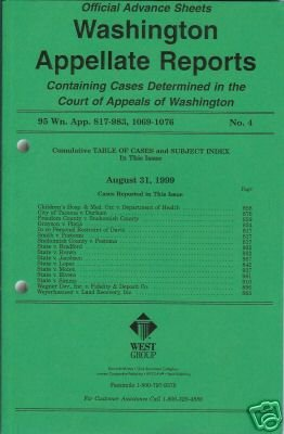 WASHINGTON APPELLATE REPORTS August 31, 1999