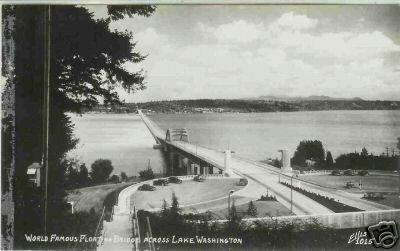 FLOATING BRIDGE ACROSS LAKE WASHINGTON RPPC