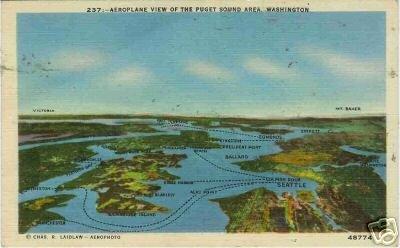 AEROPLANE VIEW PUGET SOUND AREA WASHINGTON