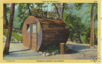 Redwood Highway LOG OUTHOUSE California Logging Postcar