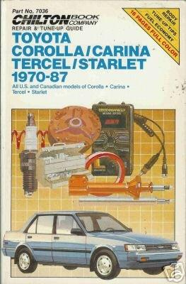 TOYOTA COROLLA/CARINA TERCEL/STARLET 1970-87 Chilton