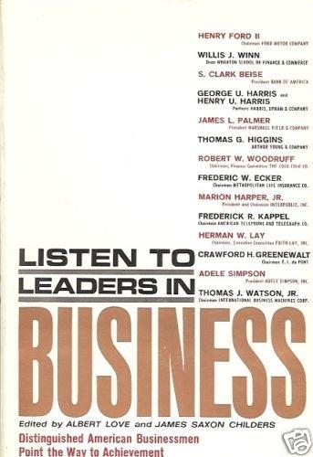 LISTEN TO LEADERS IN BUSINESS ALBERT LOVE & SAXON CHILD