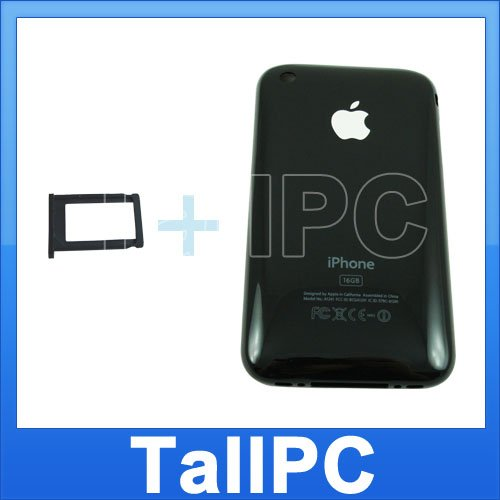 New Black Iphone 3G Back housing Cover Case 16GB + Tray