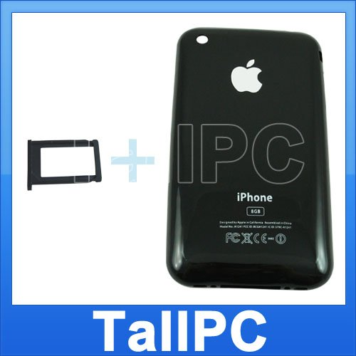 New Black Iphone 3G Back housing Cover 8GB + Card Tray