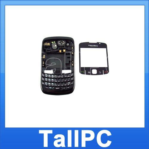 USA BlackBerry Curve 8520 Full Housing Case Cover Black