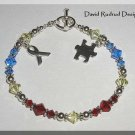 AUTISM Awareness Bracelet with Swarovski Crystal & Sterling Silver Symptom