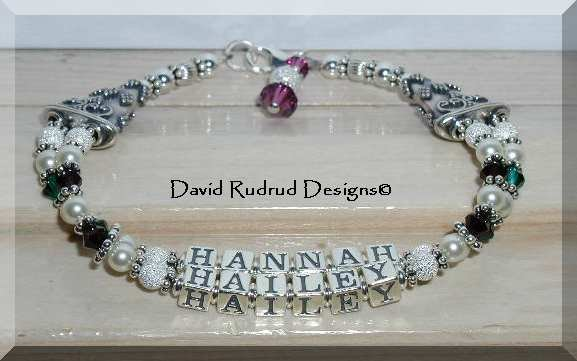 Custom Two Name Two Strand Mothers Mommy Baby Name Bracelet Sterling Silver Swarovski Crystal