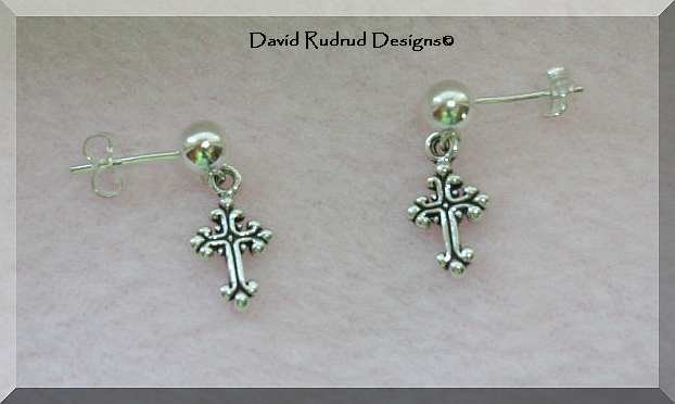 NEW Sterling Silver Cross Post Earrings
