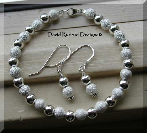 NEW BOUTIQUE STARDUST 6mm Bead Bracelet and Earring set Beaded Jewelry David Rudrud Designs