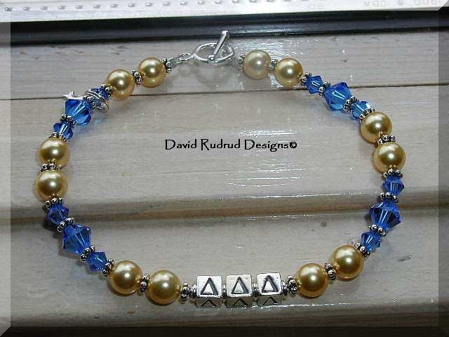 BOUTIQUE CUSTOM SORORITY CRYSTAL BRACELET Delta Delta Delta