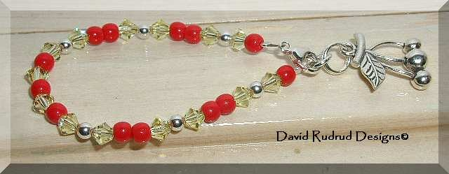 Boutique Cherry Flip Custom sterling silver and Austrian crystal bracelet