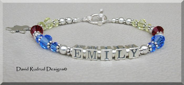 Boutique AUTISM Awareness Name Bracelet with Swarovski Crystal & Sterling Silver