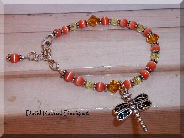 Boutique DRAGONFLY Custom Sterling Silver and Austrian Crystal Charm Bracelet