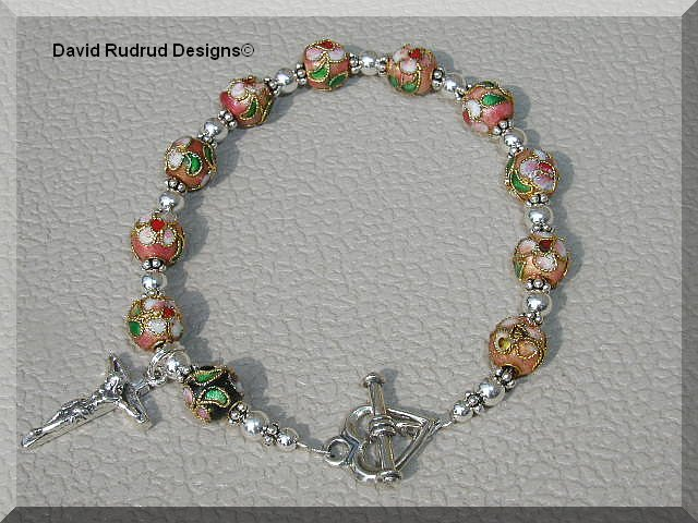 Boutique CLOISONNE CATHOLIC ROSARY BRACELET Sterling Crucifix Heart Clasp