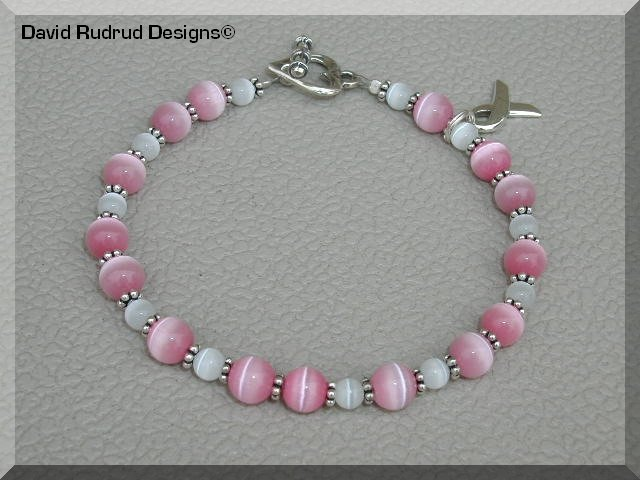 NEW Pink BREAST CANCER Awareness Bracelet with sterling silver