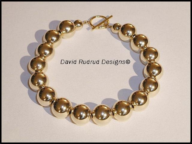 10mm GOLD Bead Beaded Bracelet - Elegant 10mm gold filled beads