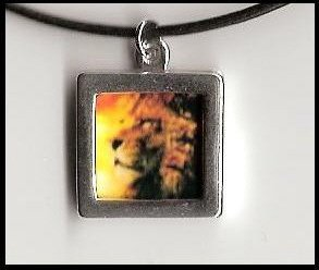 Custom Sterling and Leather Picture Image Logo Necklace
