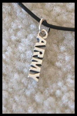 Army Necklace Sterling Silver Charm and Leather