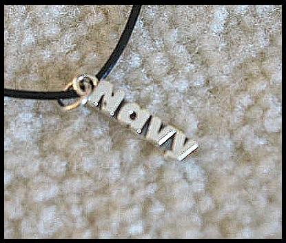 Navy Necklace Sterling Silver Charm and Leather
