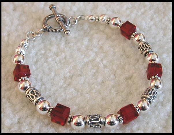 Boutique Birthstone Swarovski Bali Sterling Silver Bracelet Gift Jewelry