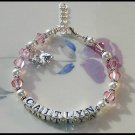 Custom Girls Baby Name Charm Bracelet Swarovski Crystal and Sterling Silver