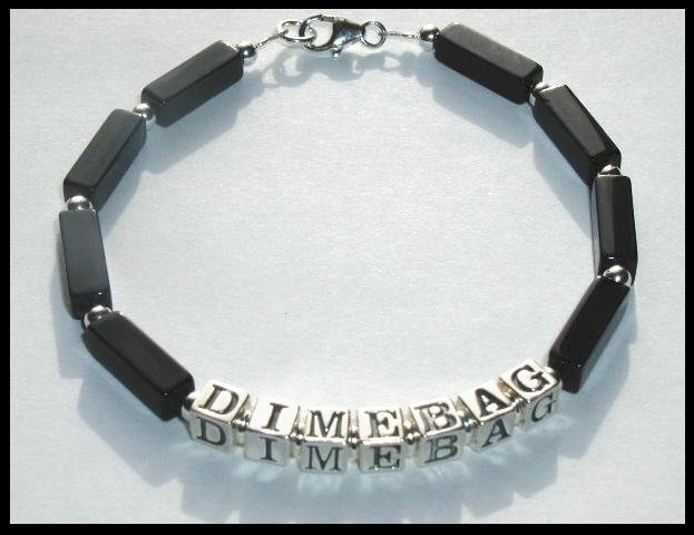 Sale! DIMEBAG DARRELL Memorial Bracelet Sterling Silver Black Onyx