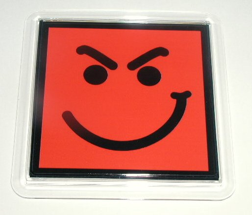 RED Have A Nice Day Smirky Guy BON JOVI Coaster
