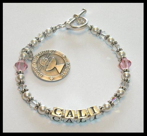 1st First Communion Gift Jewelry Name Bracelet Round My First Charm