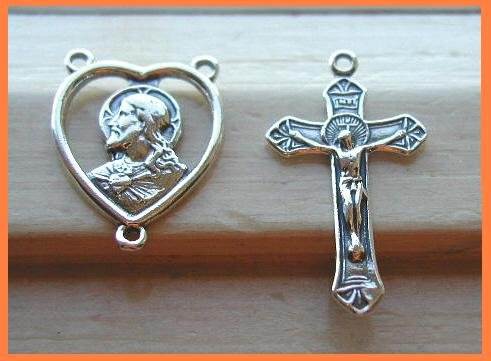 1 Set NEW Solid Sterling Silver ROSARY Center & Crucifix