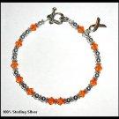 NEW Leukemia Awareness Bracelet with Swarovski Crystal & Sterling Silver