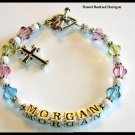 Girls Baby Baptisim Dedication Gift Name Bracelet with Swarovski Crystal and Sterling Silver Jewelry