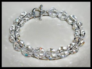 Special! Elegant 10mm Round Swarovski Clear AB Crystal Bracelet Beaded Crystal Gift Jewelry