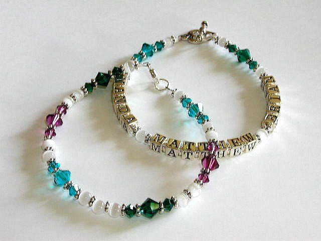 Boutique 3 Name Baby Mothers Name Bracelet Crystal Sterling